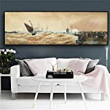 QWESFX Vintage Sailboat on The Ocean Abstract Canvas Painting Kids Painting Set Painting by Numbers Canvas Art Prints Lienzo estirado para Pintar (Imprimir sin Marco) A2 40x80CM