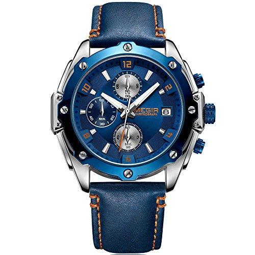Megir, Herren-Chronograph, Quarzuhr mit Lederband, analoge Armbanduhr für Herren, kleines Zifferblatt - blau