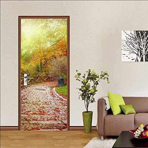 2Pcs 3D Door Sticker Vinyl Mural Stairs Corridor Forest Path Self Adhesive Removable Wallpaper Decal Interior Doors Bedroom Living Room Antique Decor for Home (C)