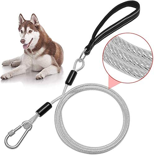 6ft Dog Leash Chew Proof Sturdy Reflective Cable Lead with Padded Handle Rock Climbers Carabiner product image
