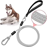 6ft Dog Leash Chew Proof - Sturdy Reflective Cable Lead with Padded Handle & Rock Climbers Carabiner for Small Medium Large Dogs Outdoor Walking, Climbing, Training
