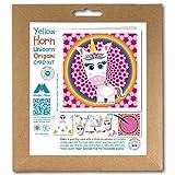 Kit de tarjetas de felicitación de origami, diseño de cuerno amarillo, unicornio rosa, imán para nevera, arco iris y flor, 150 mm, cuadrado