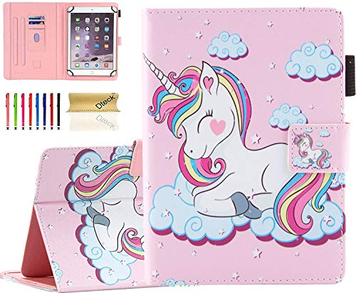 Universal 8.0 inch Tablet Case, Dteck Stand Folio Flip Wallet Case for iPad Mini 7.9'/ Galaxy Tab 8.0 /Fire HD 8/ Nextbook Tagital/Dell/HP/LG G Pad and More All 7.5-8.5 inch, Pink Unicorn