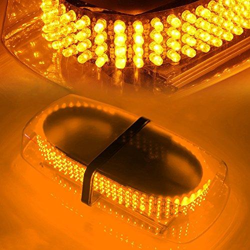 Xprite Amber/Yellow 240 LED Emergency Hazard Warning Mini Beacon Light Bar w/Magnetic Base for Law Truck Car Enforcement Snowplow Safety Strobe Lights