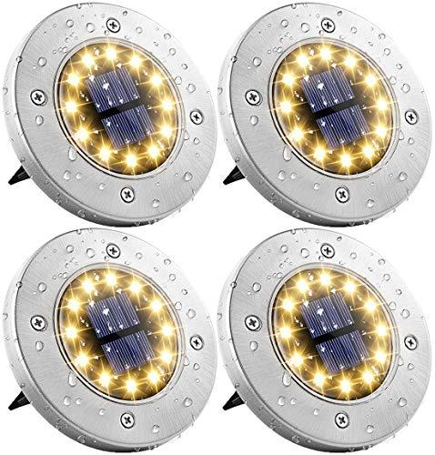 Solar Bodenleuchten Aussen Solarleuchten Garten 4 Stück 12 LEDs Solarlampen LED Gartenleuchten Außenleuchte, Wasserdicht IP65 Landschaftslichter für Rasen, Dachrinnen, Fahrstraßen Gehweg, Warmweiss