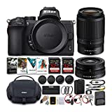 Nikon Z50 Mirrorless Camera with NIKKOR Z 16-50 and 50-250mm VR Lenses and 64GB Card Kit with Deluxe Accessory Bundle (5 Items)