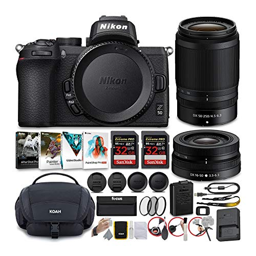 Nikon Z50 Mirrorless Camera with NIKKOR Z 16-50 and 50-250mm VR Lenses and 64GB Card Kit with Deluxe Accessory Bundle...