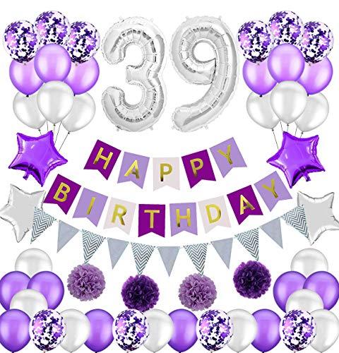 Colorpartyland - Juego de decoraciones de cumpleaños, color morado y plateado, guirnalda de papel con número 39, globos de látex y confeti, globos de papel para mujer, número 39