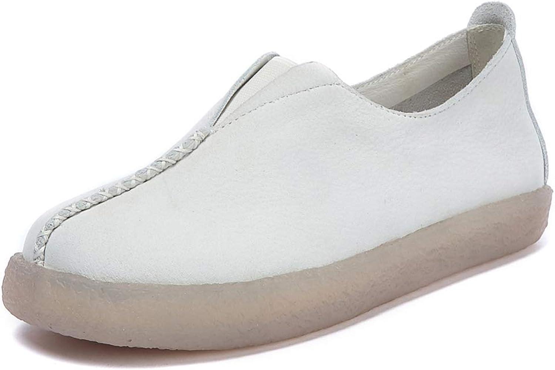 XLY Damen Frühling und Herbst handgefertigte Genuine Leder weiche Boden Faule Schuhe, Mode Flache Boden Boden tief Mund Damenschuhe