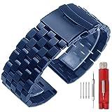 Kai Tian Premium Matte 5 Filas Cerraduras dobles 18mm Correa reloj de acero inoxidable azul Correa de metal de repuesto para hombres Mujeres
