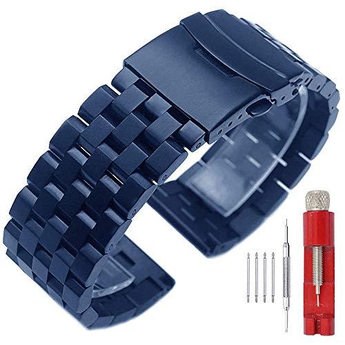 Kai Tian Azul raro Correa de reloj de acero inoxidable cepillado de 22mm Correa reloj de metal de repuesto para hombres Mujeres