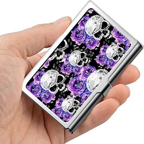 Calaveras de azúcar y lavanda Flores púrpuras en el tarjetero gótico para mujer Estuche para tarjetas de presentación personales Metal profesional 3.81x 2.7 X 0.29 pulgadas Estuche para tarjetas de p