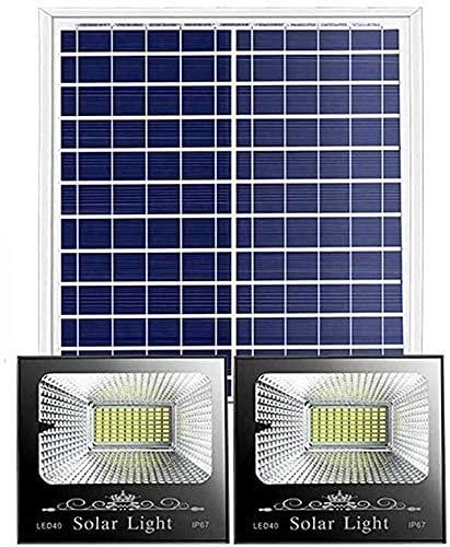 N/Z Inicio Equipo Proyector LED Focos de inundación Luces LED para Exteriores Paquete de 2 Paneles solares con Sensor de luz IP65 para iluminación de cobertizo Luces de Seguridad