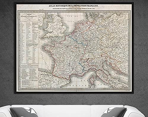 MG global Geografía política de Francia y Europa Central, Revolución Francesa, Historia Francesa, Francia mapa de pared, regalo francés sin marco