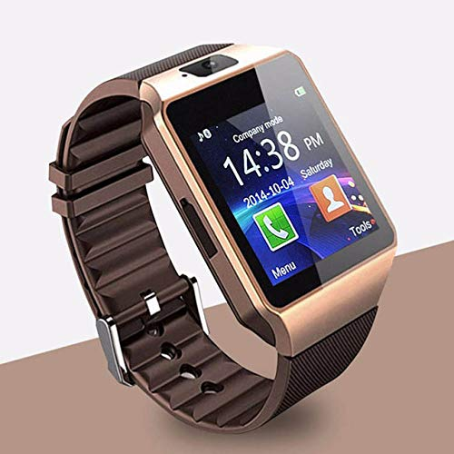 ZXCVBW Smartwatch Smart Watch Digital Herrenuhr für Apple iPhone Samsung Android Handy Bluetooth SIM TF-Karte Kamera, Gold