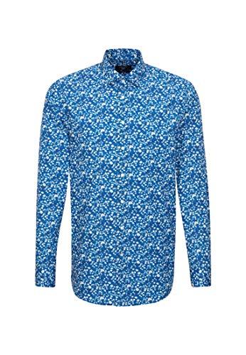 Seidensticker - Chemise Droite Capsule Liberty London Fabrics Fleurs Blanches sur Fond Bleu Turquoise - Bleu - 41