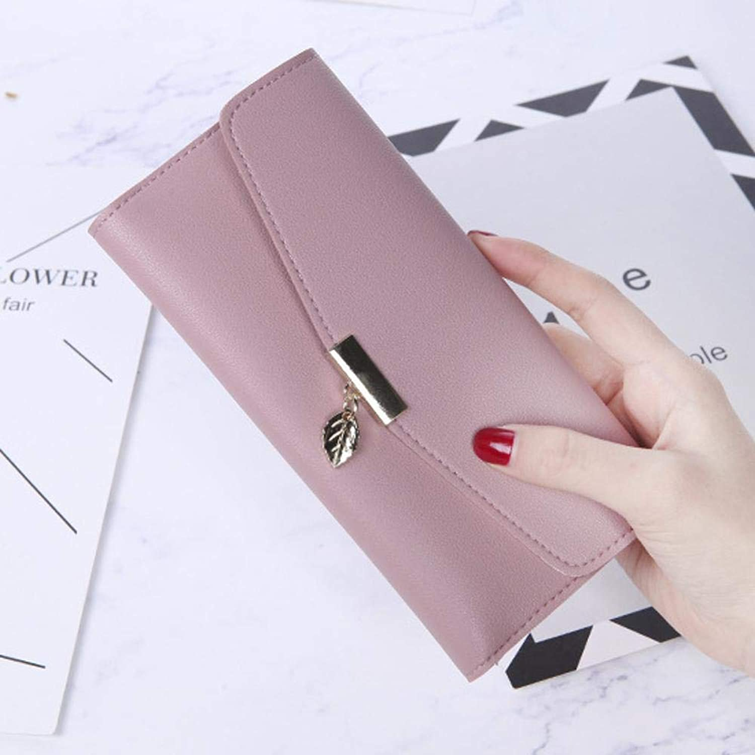 Girls Purse Women's Wallet Large Lady WallePU Leather (color   A)