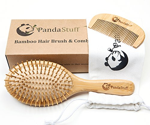 Natural Wooden Paddle Hair Brush – Organic Bamboo Bristles Pins Hairbrush And Comb Travel Set For Women, Men And Kids - For Thin, Thick, Long, Short, Curly Hairs - Scalp Massager, Eco-Friendly, Biodegradable, BPA Free – By Panda Stuff