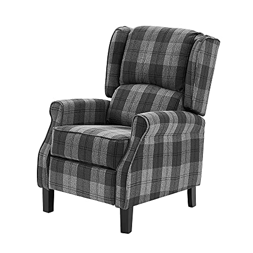 Wing Back Fireside Checked Fabric Recliner Armchair Push Back Recliner for Living Room Vintage Design Recliner With Footrest (Gray)