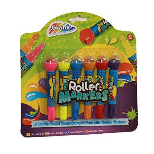 Kinder Rollen Stempel Stifte - Doppelendprofiler - Packung mit 6 - Verschiedene Formen und Farben - von Grafix