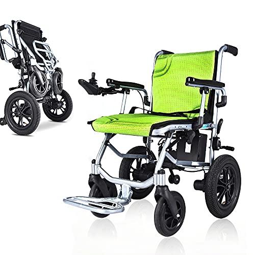 2021 Rollstuhl Elektrisch Faltbar,19KG Tragbarer Reiserollstuhl,Vordere und hintere intelligenten Dual-Steuersystem für Behinderte, Elektrorollstuhl für Senioren, Autonomie 20 km, 24V,Grün