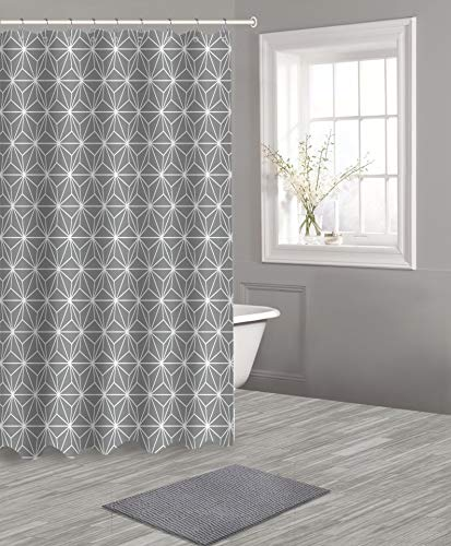 Popular Bath Shower Curtain Bath Set 14PC, 14 Piece, Charcoal