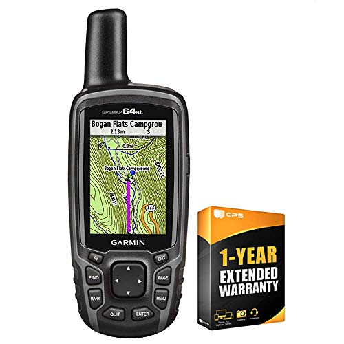 Garmin GPSMAP 64st Worldwide Handheld GPS with 1 Yr. Birdseye Subscription and Preloaded TOPO U.S. 100K Maps + 1-Year Extended Warranty Bundle (Renewed)