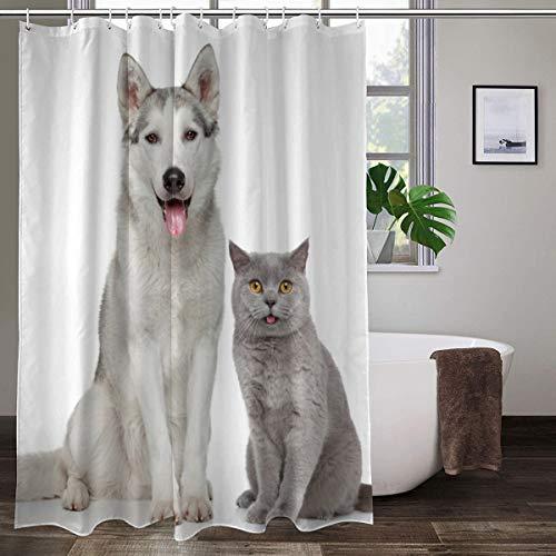XCBN Cortinas de Ducha de Animales para Perros y Gatos, decoración de baño Impresa en 3D, Tela Impermeable, Cortina de baño para niños, A3 180x200cm