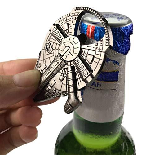 chinejaper Abridor de botellas de vino de cerveza, llavero de halcón de guerras de metal, abrebotellas de metal de la Alianza Rebelde de las guerras del milenio, abridor de botellas
