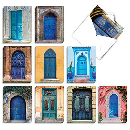 The Best Card Company - Box of 20 Blank Greeting Cards Assortment (4 x 5.12 Inch) (10 Designs, 2 Each) - Blue Doors AM7170OCB-B2x10