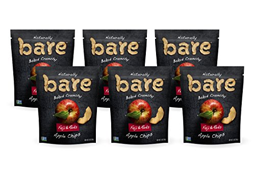 Bare Natural Apple Chips, Fuji & Reds, Gluten Free + Baked, Multi Serve Bag - 3.4 Oz (Pack of 6)