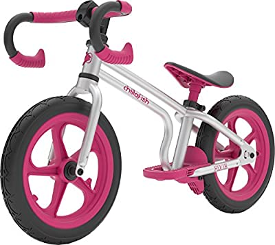 Chillafish Fixie Fixed-Gear Styled Balance Bike with Integrated Footrest, Footbrake & Airless Rubberskin Tires, Pink, Silver Pink