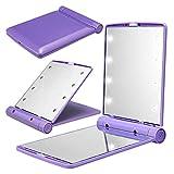 GGG Nouveau portable Femmes 12V batterie Powered 8 LED pliable Miroir de maquillage lumineux - Violet