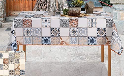 De'Carpet Mantel Hule Estampado Rectangular Redondo Baldosa Hidráulica (100x140cm)