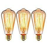 3 unids Edison Bombillas ST64 E27 40W Lámpara Vintage Retro, 220V-230V, blanco cálido, diseño industrial para iluminación antigua decoración