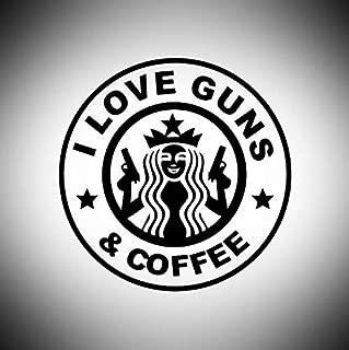 i love guns and coffee sticker