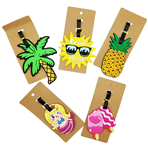Hixixi 5pcs Funny Colorful Luggage Tags Baggage Suitcase Backpack Labels for Kids Girls Boy Women (Ice Cream Pineapple Coconut Mermaid) (A)