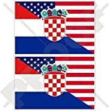USA Vereinigte Staaten von Amerika und KROATIEN Hrvatska, Amerikanisch und Kroatisch Flagge, Fahne 100mm Auto & Motorrad Aufkleber, x2 Vinyl Stickers