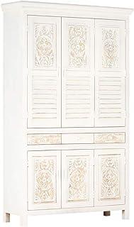 SKM Garde-Robe Blanc 120x40x200 cm Bois de manguier solide-373