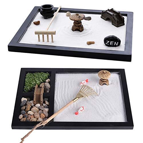 FDQNDXF 2 pièces Mini Kit de Jardin Zen, Table de Sable de Jardin Zen de Bureau Japonais Accessoires de Bureau de Relaxation créative, pour la décoration de la Maison et du Bureau