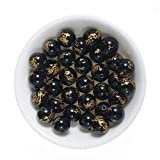 FANGQUN Black Agate Beads for Bracelets Flying Dragon Pattern Natural Stone Healing Energy Chakra Beads for Jewelry Making (45pcs, 8mm)