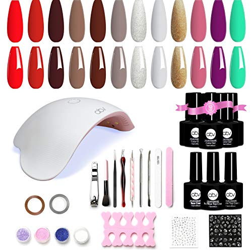 ABV Gel Nail Polish Set with UV Light 12 Colors Gel Nail Kit Dryer Nail Art Starter Kit Soak Off Nude Nail Polish with 48W UV LED Lamp Base Coat Top Coat Home DIY Manicure Tools