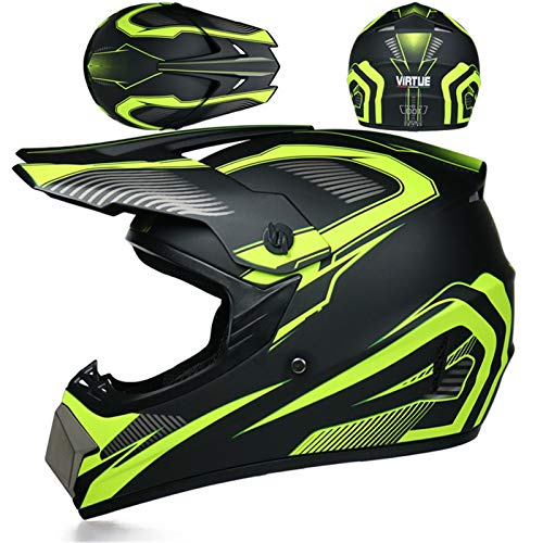 Casco de moto de motocross con visera, máscara y guantes, casco Downhill integral, Cross Enduro, Quad Mountain Bike, BMX MTB, casco D.O.T estándar para niños, ATV Go Kart-Helm (verde neón, L)