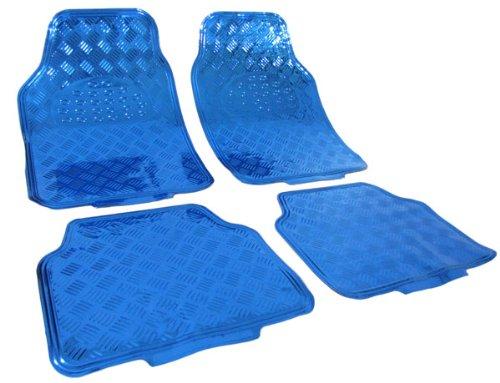 Tenzo-R 16061 Auto Gummi Fußmatten universal Alu Riffelblech Optik chrom blau
