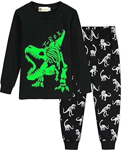 MOLYHUA Schlafanzug Jungen Glow in The Dark Kinder Dinosaurier Schlafanzüge für Mädchen Bagger Traktor Rakete Baumwolle Langarm Pyjama 92 98 104 110 116 122,03 Dinosaurier-fossil (Schwarz),110