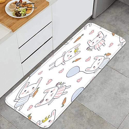 PUIO Juegos de alfombras de Cocina Multiusos,patrón de bebé Transparente de Conejo de Dibujos Animados,Alfombrillas cómodas para Uso en el Piso de Cocina súper absorbentes y Antideslizantes