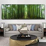 Surfilter Bosque de bambú verde sosteniendo paraguas rojo Passersby Wall Art Pósters e impresiones Pintura de lienzo para sala de estar Decoración 50x150cm 20x60 pulgadas Sin marco