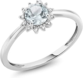 10K White Gold Sky Blue Aquamarine and Diamond Women's Engagement Ring 0.40 Ct Round Available in (Available 5,6,7,8,9)