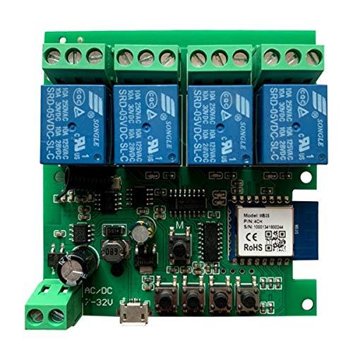 MHCOZY Wifi Relè Módulo funziona con Alexa/Google Home, interruttore WiFi DC 12V per dispositivo domestico intelligente fai-da-te, automatizza la tenda del garage (Smart life app, 4CH)