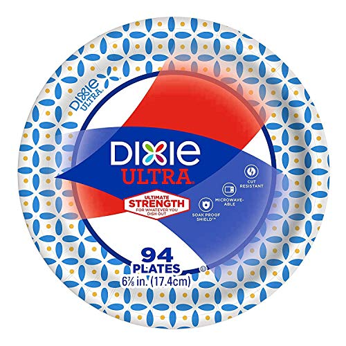 Dixie Ultra Heavy Duty Disposable Appetizer and Dessert Paper Plates, Small Plate 6 7/8' (94 ct) (Pack of 2)